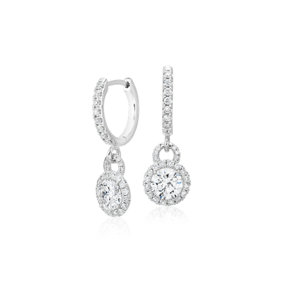 Diamond Halo Drop Earrings in 14k White Gold (1 ct. tw