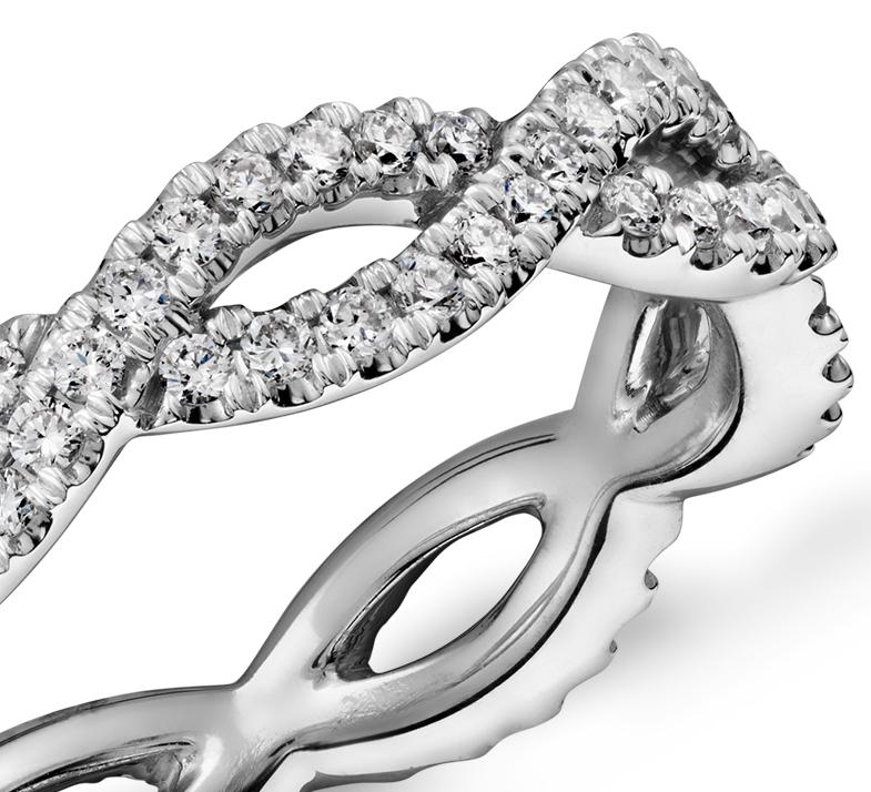 Infinity Twist Eternity Ring In 14k White Gold 12 Ct Tw