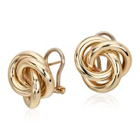 Oversized Love Knot Stud Earring in 14k Yellow Gold | Blue ...