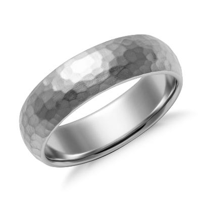 Matte Hammered Comfort Fit Wedding Ring in Palladium 6mm