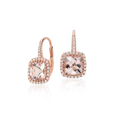 Morganite and Diamond Cushion Drop Earrings in 14k Rose