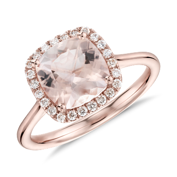 Morganite and Diamond Halo Cushion Ring in 14k Rose Gold