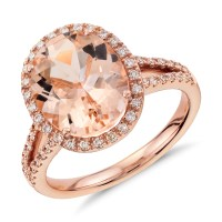 Morganite and Diamond Ring in 14k Rose Gold (11x9mm ...