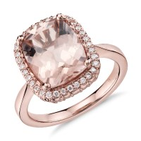 Robert Leser Morganite and Diamond Ring in 14k Rose Gold