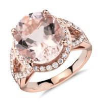 Morganite and Diamond Ring in 18k Rose Gold (13x11mm ...