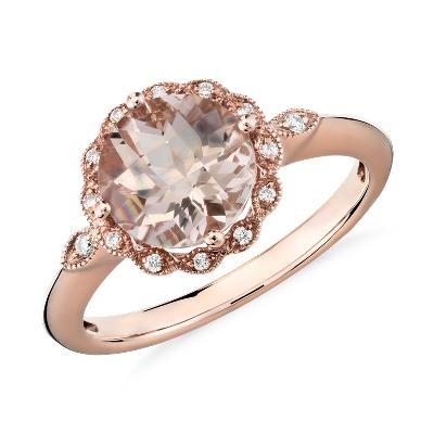 Morganite and Diamond Milgrain Halo Ring in 14k Rose Gold