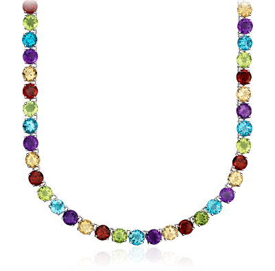 Multicolor Gemstone Necklace in Sterling Silver 5mm