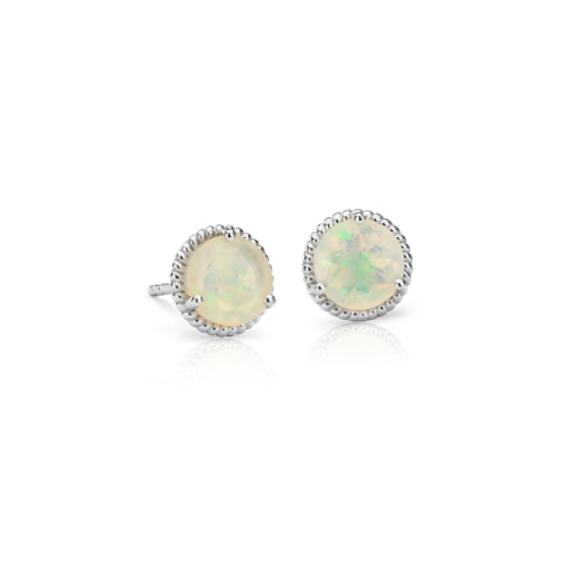 Opal Rope Stud Earrings in Sterling Silver (7mm)