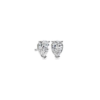 Pear Shape Diamond Stud Earrings in 14k White Gold (1 ct