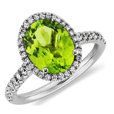 Peridot And Diamond Ring In 18k White Gold (10x8mm)  Blue