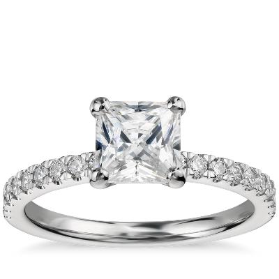 1 Carat Preset Princess Cut Petite Pav Diamond Engagement