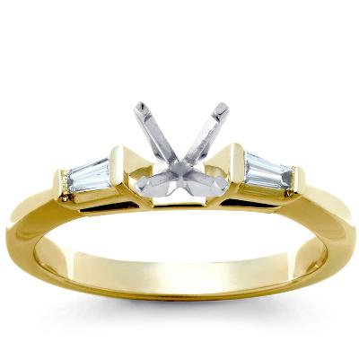 Petite Vintage Pav Leaf Diamond Engagement Ring in 14k