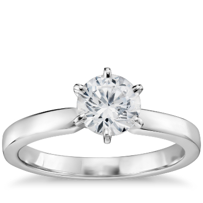 34 Carat Preset SixProng Low Dome Comfort Fit Solitaire Engagement Ring in 14k White Gold 2