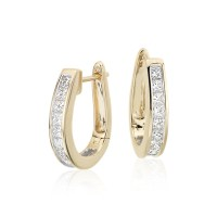 Princess-Cut Hoop Diamond Earrings in 18k Yellow Gold (1 1 ...