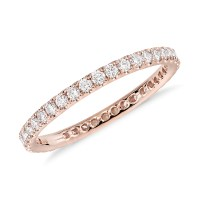 Riviera Pav Diamond Eternity Ring in 14k Rose Gold (1/2