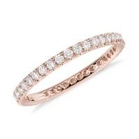 Riviera Pav Diamond Eternity Ring in 14k Rose Gold (1/2 ...