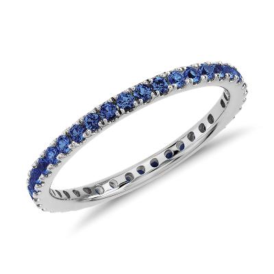 Riviera Pav Sapphire Eternity Ring In 18k White Gold 1