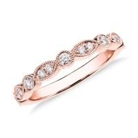 Milgrain Marquise and Dot Diamond Ring in 14k Rose Gold (1 ...