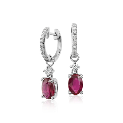 Ruby and Diamond Drop Earrings in 14k White Gold (7x5mm