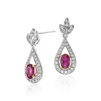 Ruby and Diamond Drop Earrings in 18k White and Yellow