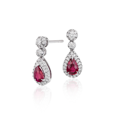 Ruby and Diamond Double Drop Earrings in 18k White Gold
