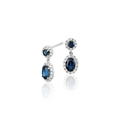 Sapphire and Diamond Halo Drop Earrings in 14k White Gold