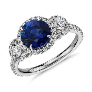 Sapphire And Diamond Halo Three Stone Ring In 18k White