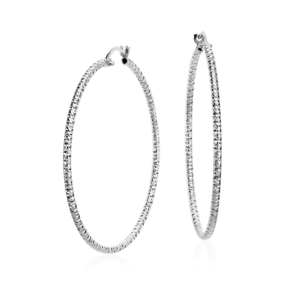 Diamond Cut Large Hoop Earrings in Sterling Silver (1 3/4