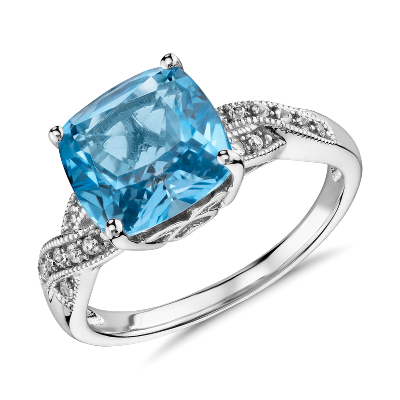Swiss Blue Topaz and White Sapphire Ring in Sterling Silver 9x9mm  Blue Nile