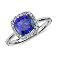 Tanzanite Cushion and Diamond Halo Ring in 14k White Gold ...