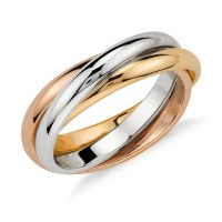Trio Rolling Ring in 18k Tri-Color Gold | Blue Nile