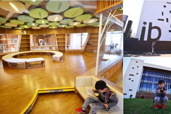 桃園最美建築 | 龍岡圖書館,優質親子閱讀空間、木造綠建築,雨天備案親子景點
