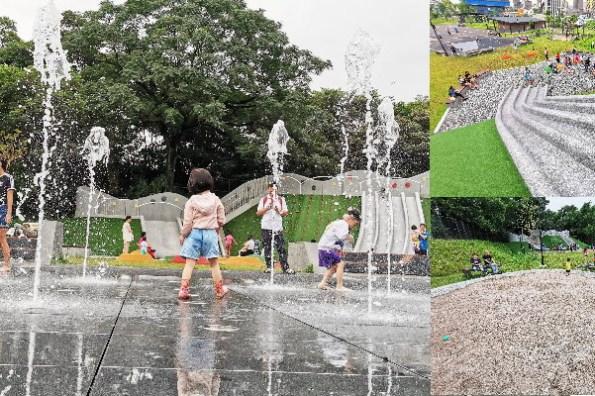 新北市特色公園》土城斬龍山遺址文化公園,噴水舞台玩水好去處,溜滑梯、大沙坑、攀岩、野餐