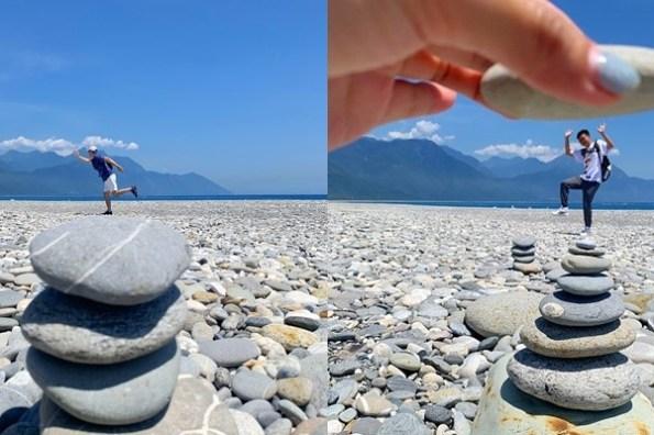 花蓮七星潭疊石頭》美麗的月牙海灣,看太平洋的藍、清水斷崖的壯闊