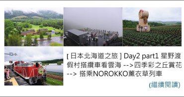 [ 日本北海道之旅 ] Day2 part1 星野渡假村搭纜車看雲海 --> 四季彩之丘賞花 --> 搭乘NOROKKO薰衣草列車