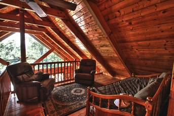 Loft area with wonderful views out the gable windows. at Livin' Lodge in Sky Harbor TN