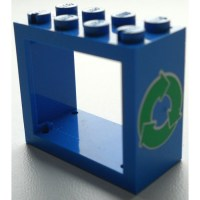 LEGO Blue Window 2 x 4 x 3 with Decoration with Rounded ...