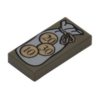 LEGO Dark Gray Tile 1 x 2 with Bag and 10, 20, 30 Coins ...
