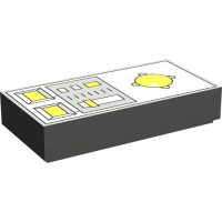 LEGO Dark Gray Tile 1 x 2 with Yellow Buttons and Knob ...