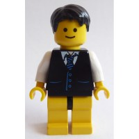 LEGO Black Minifigure Torso with Vest over Shirt and Blue ...