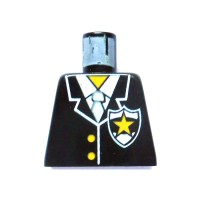 LEGO Police Torso with White Zipper and Badge with Yellow ...