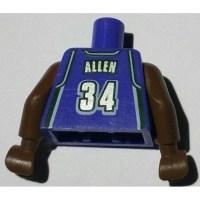 LEGO Violet NBA Milwaukee Bucks #34 Torso with Brown Arms ...