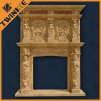 Free Standing Stone Fireplace Mantel , Yellow Marble ...