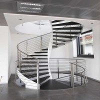 Acacia Wood Steps Curved Stair With Stainless Steel