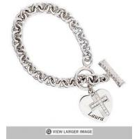 sterling silver cross charm bracelet, sterling silver