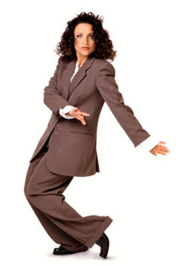 Don an oversize suit jacket and menswear-inspired pants for a look worthy of Elaine Benes.