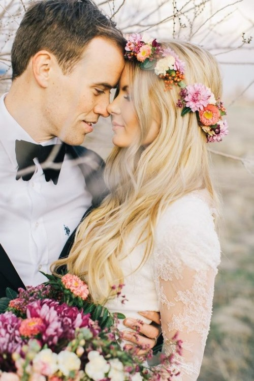 Flower Crown DIY Colorful Flower Crown Bride and Groom Wedding Bouquet Outdoor Wedding