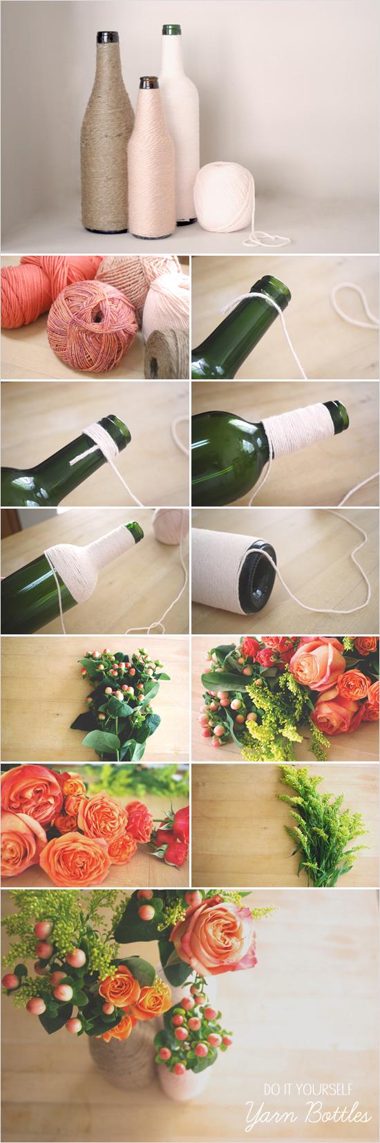 21 Wedding Things to DIY Instead of Buy - Yarn Wrapped Bottles