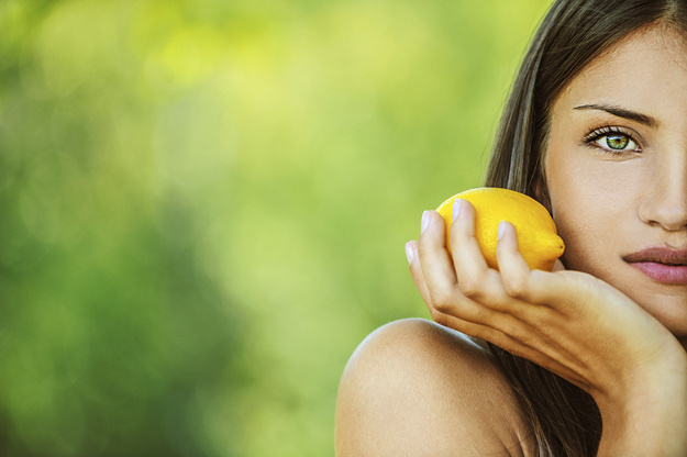 Using lemon juice to clear or brighten your skin.