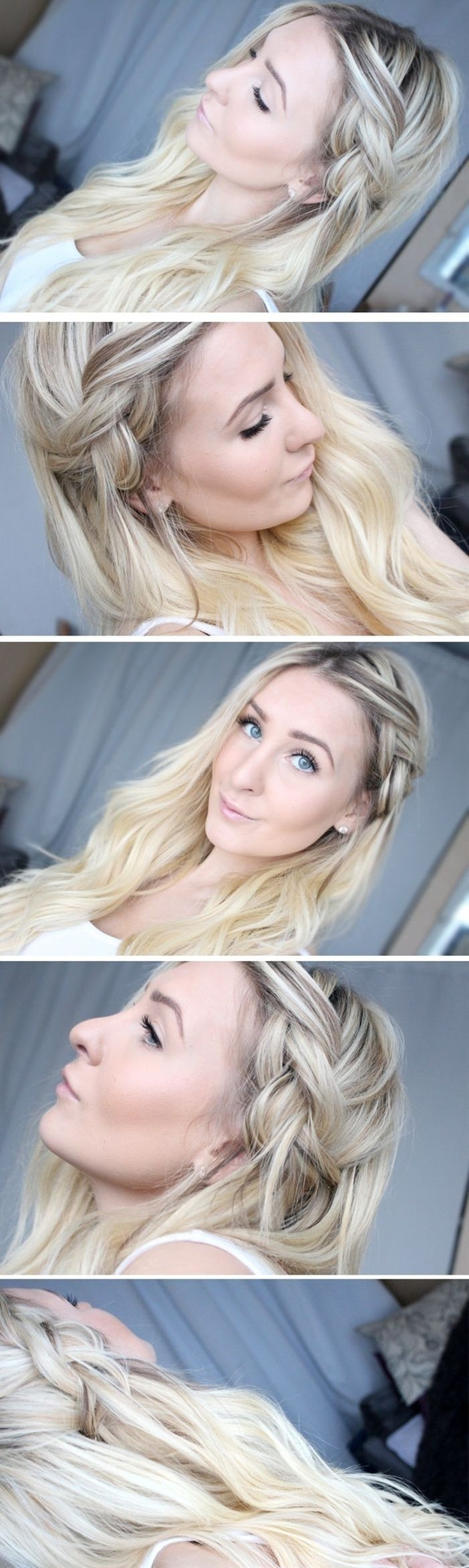 This half-done braid will stay even better in unwashed hair.